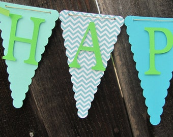 Turquoise, Teal, Lime Green Happy Birthday Banner, Birthday Banner, Happy 1st Birthday Banner, Birthday Decorations