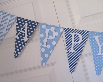 Happy Birthday Banner, Boys Birthday Banner, Birthday Decorations, Dark Blue and Light Blue Banner