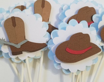 Cowboy Cupcake Toppers, Set of 12, Birthday decorations, baby shower decorations, Cowboy Party Decorations, Blue Gingham, Blue and white