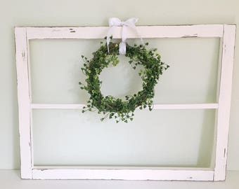 White Wooden Rustic Window Frame Vintage Inspired Home Decor Antique Farm Style Decorations Wall Handmade