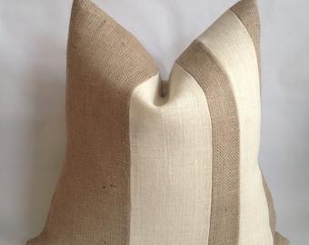 Double Two Tone Stripe Burlap Pillow Cover