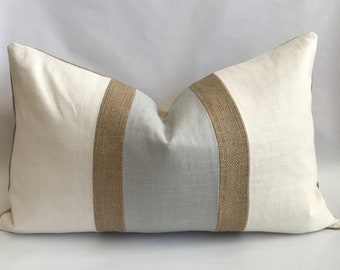 Cream and Pearl Gray Linen/ Cotton with Burlap Accent Stripes Lumbar Pillow Cover