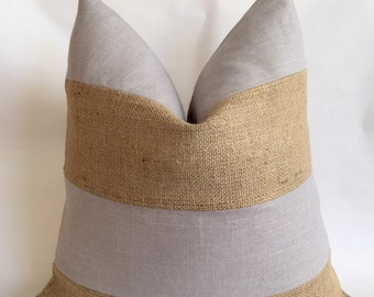 Light Gray Linen/Cotton and Natural Burlap Striped Pillow Cover