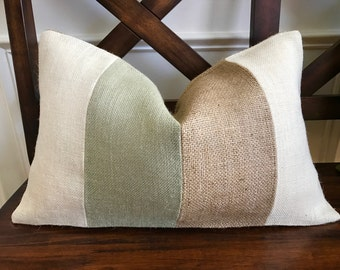 Cream, Sage and Natural Burlap Striped Pillow Cover