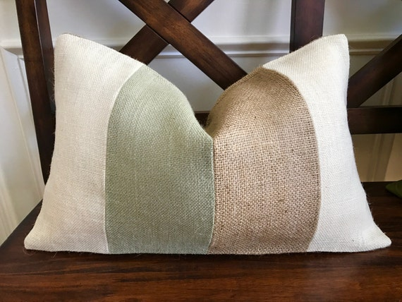 Natural Burlap Striped Pillow Cover