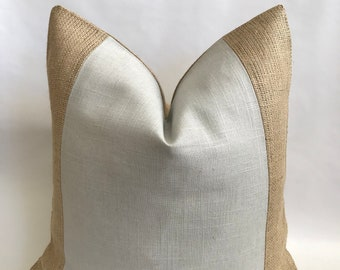Pearl Gray Linen/Cotton and Natural Burlap Pillow Cover