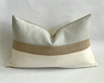 Pearl Gray and Cream Linen/Cotton and Natural Texture Horizonal Striped Lumbar Pillow