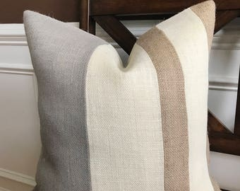 Natural, Light Gray and Cream Three Tone Pillow Cover