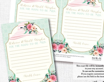 WEAR A HAT tea party bridal wedding Advice and Wishes for the soon-to-be Mrs southern floral instant digital download diy printable file