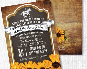 Preakness Stakes Party Invitation, Printable, Horse Race Party Invite, Rustic Wood, Black Eyed Susan, Horse Birthday