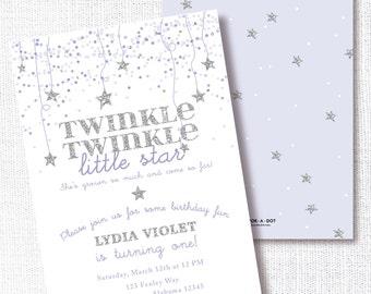 Twinkle Twinkle Little Star Birthday Party Invitation, Printable, Lavender Star Invite,  Purple, Silver, Grey, Confetti Stars, Girl