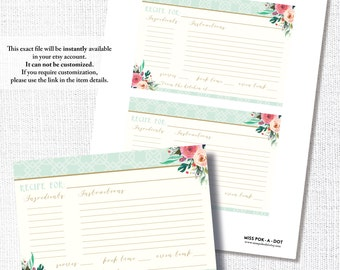RECIPE CARD matches wear a hat bridal shower invitation, bridal luncheon, wedding, tea, instant download, DIY, printable, digital file