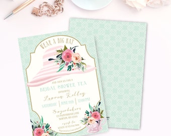 Tea Party Hat Shower Invitation, Prints, Tea Cup Invite, Bridal Shower, Brunch, Luncheon, Wedding, Southern, Bachelorette, Derby, Printed