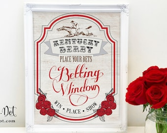 Betting Window Derby Party Sign, Printable, Horse Race Decoration, Win Place Shower Decor, Run for the Roses, Racing, Download, Digital