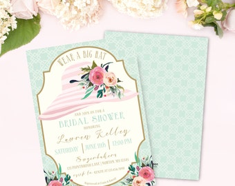 Wear A Hat Bridal Shower Invitation, Prints, Hat Shower Invite, Tea Party, Brunch, Wedding, Luncheon, Southern, Bachelorette, Derby, Printed