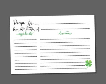 Irish Recipe Card, Printable, Lucky in Love Bridal Wedding Shower, 4 Leaf Clover, Shamrock, DIY, Instant Download, Digital, St Patrick's Day