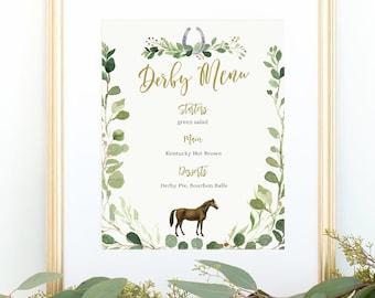 Derby Menu Sign, Editable Printable, Derby Race Horse, Decor, Greenery, Dinner, Buffet, Food, Download, Digital, Menu, Green, Gold