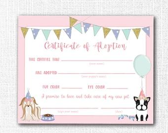 Pet Adoption Certificate, Printable, Dog Birthday Party, Adopt A Pet, Puppy Adoption, Girl, Vet, Instant Download, Digital, Decor