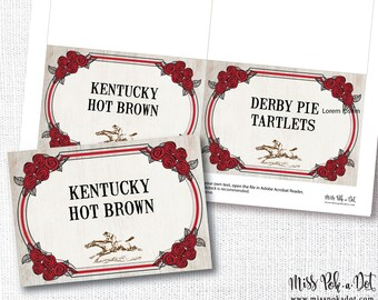 Derby Party Food Signs, Editable Printable File, Table Tents, Cards, Kentucky, Horse Race, Add Your Own Text,Download, Digital File