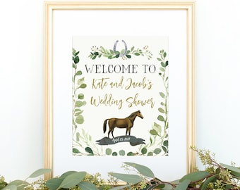 Derby Greenery Welcome Sign, Editable Printable, Race Horse, Decor, Greenery, Shower Sign, Bridal, Wedding, Baby Shower