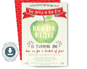Apple Of Our Eye Birthday Party Invitation, Editable Printable, Fall 1st Birthday Invite, First, Green Apple, Harvest, Autumn, Rustic Wood