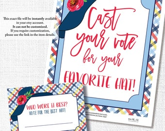 DERBY PARTY hat sign, vote ballot, Kentucky Derby party, vote best hat, vote card, instant download, diy, printable file, editable