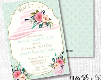 Tea Party Hat Shower Invitation, Printable, Wear A Hat Invite, Bridal Shower, Brunch, Luncheon, Wedding, Southern, Bachelorette, Derby, Cup