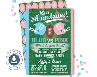 Football Gender Reveal Party Invitation, Editable Printable, Blue vs Pink, Baby Shower, Fall, Touchdown, Fall Invite