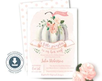 Little Pumpkin Baby Girl Shower Invitation, Editable Printable, Fall Invite, Sprinkle, Pink, White Pumpkin, Cottage Chic, Boho, Watercolor