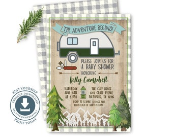 Camper The Adventure Begins Invitation, Editable Digital, Camping, Baby Shower Invite, Rustic, Mountain, Forest, Retirement, Wedding