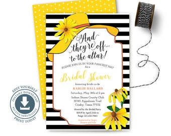 BIG HAT thank you note bridal shower they/'re off to the altar brunch wedding shower aqua coral instant digital download DIY printable file