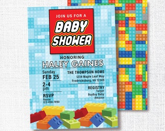Building Block Boy Baby Shower Invitation, Printable, Block Invite, Construction, Sip And See, Sprinkle