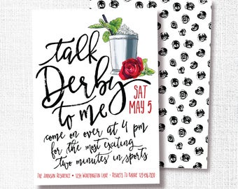 Talk Derby To Me Kentucky Derby Party Invitation, Printable, Horse Race, Run for the Roses, Mint Julep, Modern, Simple, Invite