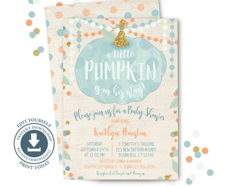 Boy Pumpkin Baby Shower Invitation, Editable Printable, Fall Invite, Blue and Gold Pumpkin, Sprinkle, Blue and Orange Confetti, Sip and See