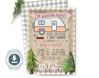 Camper The Adventure Begins Invitation, Editable Digital, Camping, Girl Baby Shower Invite, Rustic, Mountain, Forest, Retirement, Wedding