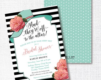 wear a hat bridal shower invitation printable big hat invite brunch wedding luncheon tea party kentucky derby southern horse race