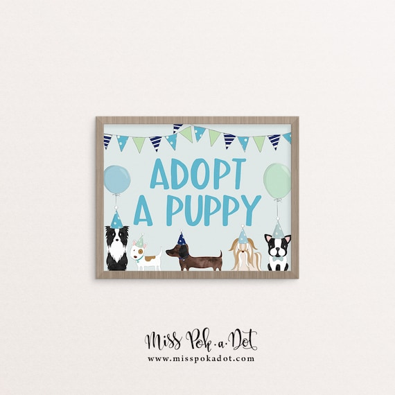 Adopt A Puppy Sign Printable Blue Dog Birthday Party Puppy   Etsy