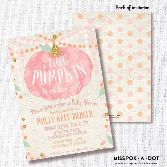 Pink Pumpkin Girl Fall Baby Shower Invitation Printable Etsy