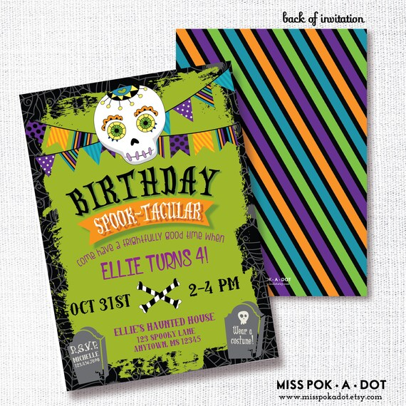 halloween birthday party invitation printable sugar skull etsy