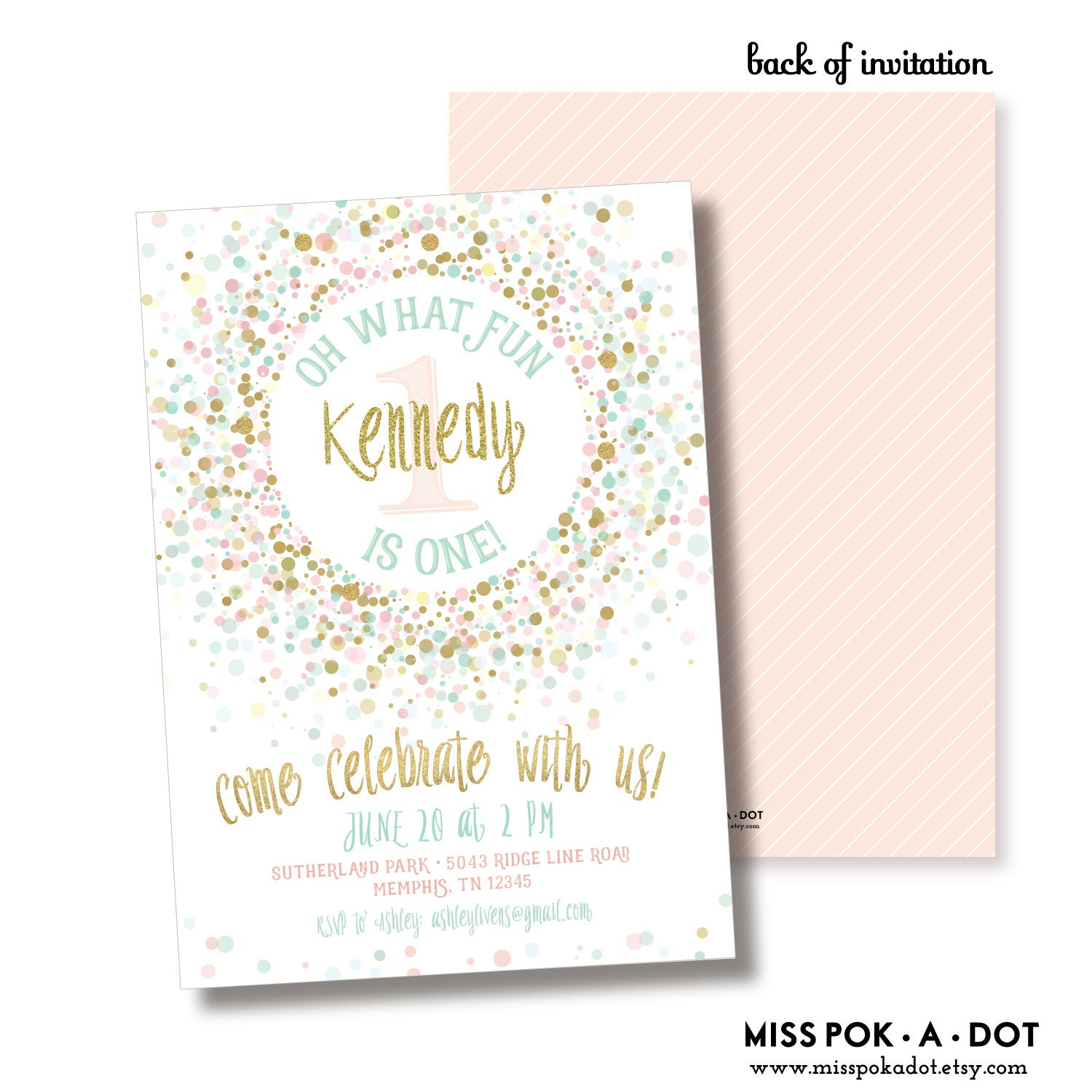 Pink Gold And Mint 1ist Birthday Party Invitation Printable