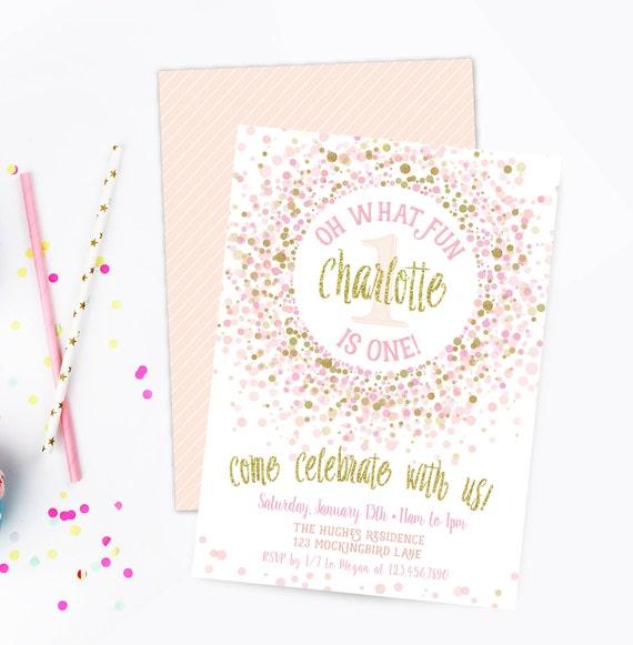 pink and gold birthday party invitation prints 1st birthday etsy