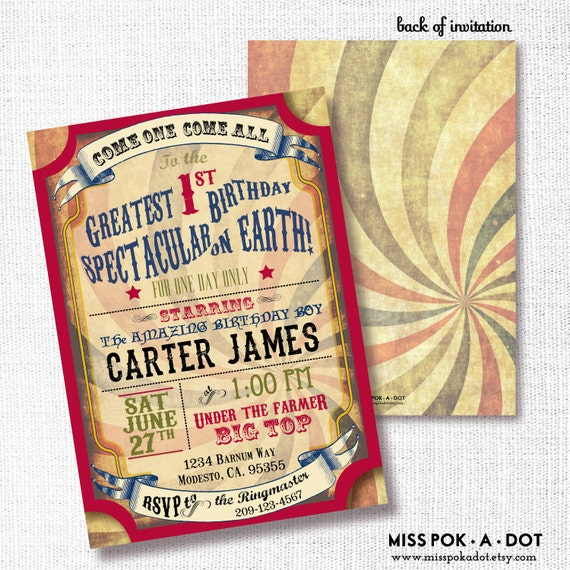 circus birthday party invitation printable carnival invite etsy