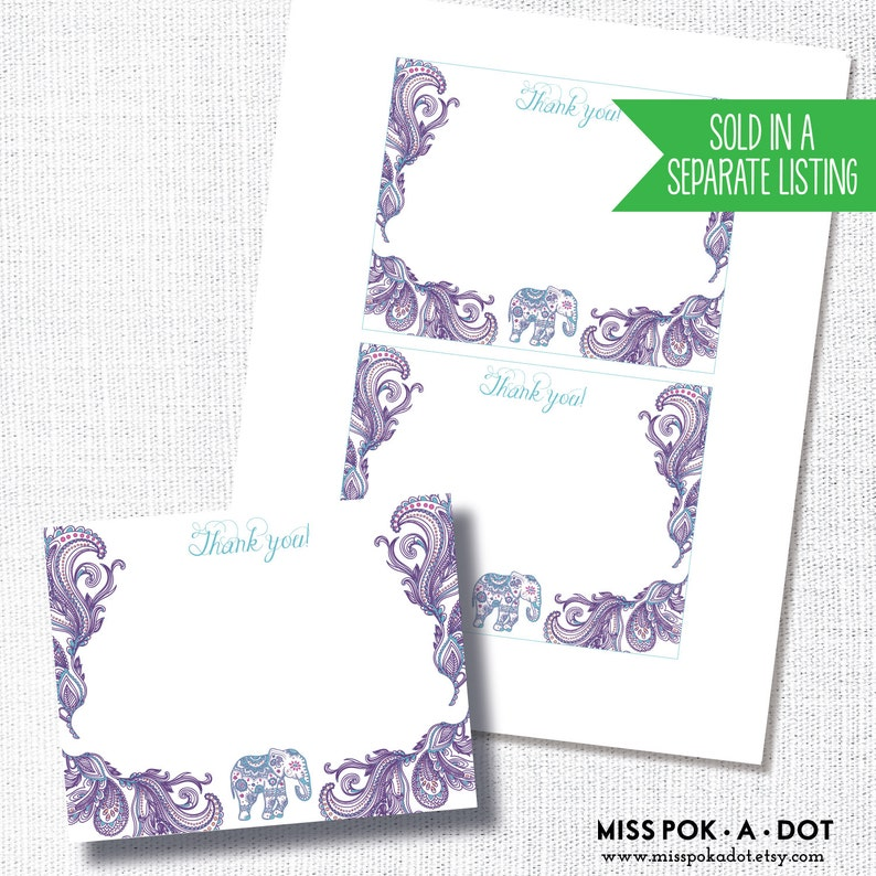 PURPLE INDIAN ELEPHANT cupcake topper sticker thank you favor tag diy instant digital download printable file paisley little peanut