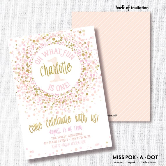 Pink And Gold Birthday Party Invitation Printable 1st Invite First Confetti Sprinkles Glitter Girl 2nd 3rd