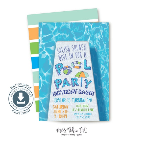 Lets Swim Printable Party Decorations Tween and Teen INSTANT DOWNLOAD