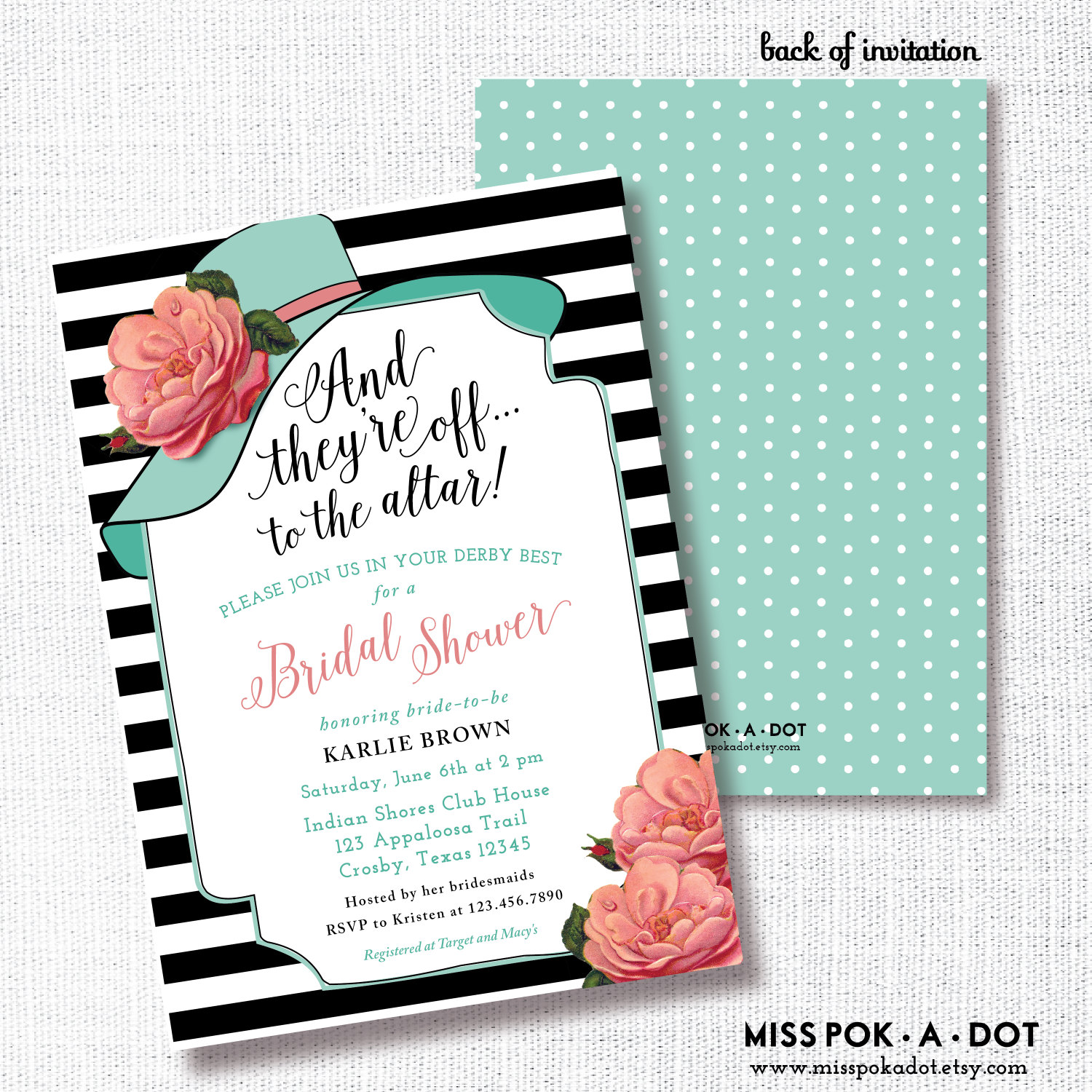Wear a hat bridal shower invitation printable big hat etsy zoom filmwisefo