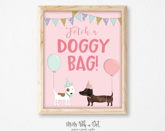 Doggy Bag Sign, Printable, Dog Birthday Party, Favor Sign, Doggie, Goody Bag Sign, Puppy Adoption, Girl, Instant Download, Digital, Decor