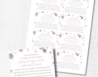 """instant digital download: pink and silver """"glitter"""" sprinkle book request insert card - bring a book instead of a card"""