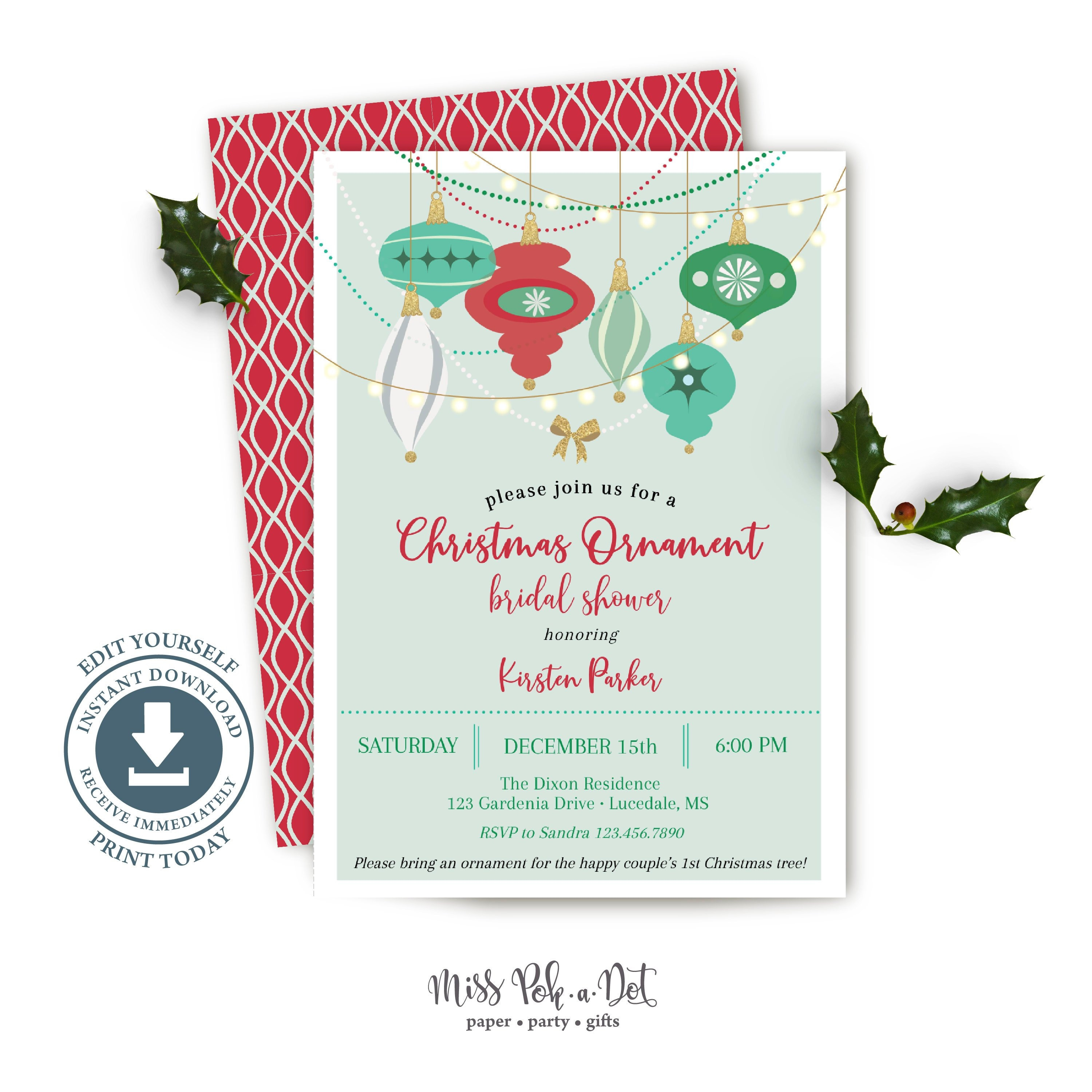 Ornament Bridal Shower Invitation Printable Christmas Party | Etsy