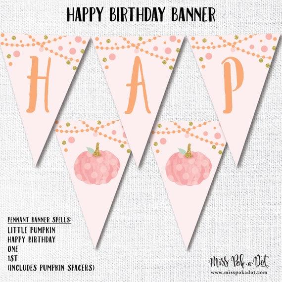 pumpkin happy birthday pennant banner printable pink little etsy
